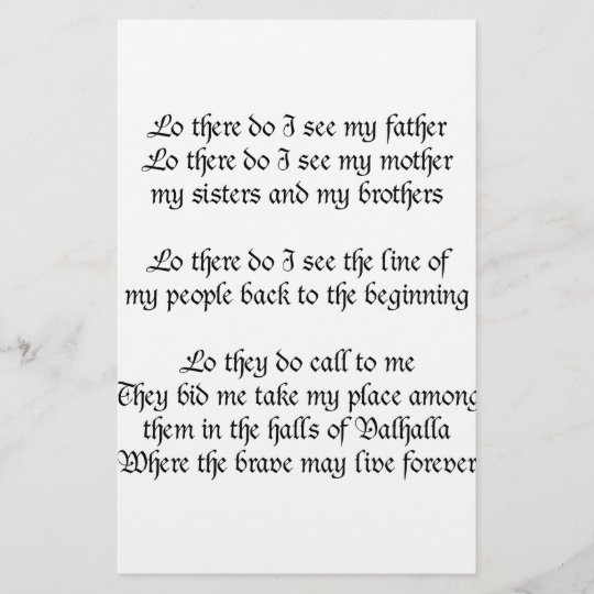 Viking Prayer Lo There Do I See My Father Zazzle Co Uk