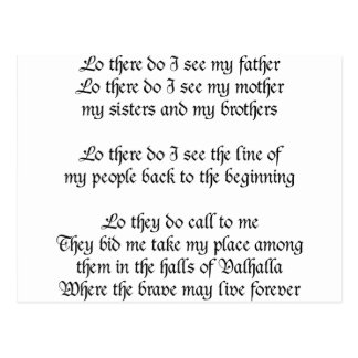 Viking Prayer Lo There Do I See My Father Postcard