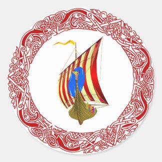Viking raiders round sticker