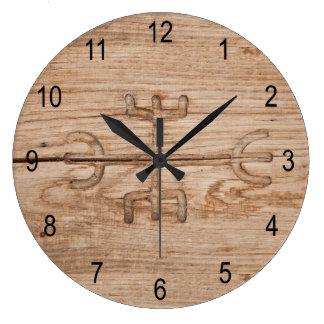 Viking rune on cracked wood large clock