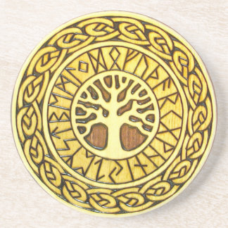 Viking Runes with Tree Sandstone Drink Coaster