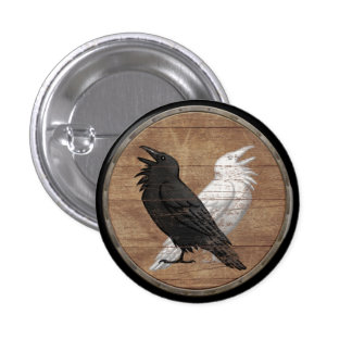 Viking Shield Button - Odin's Ravens