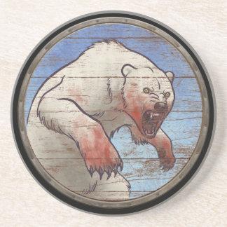 Viking Shield - Polar Bear Sandstone Coaster