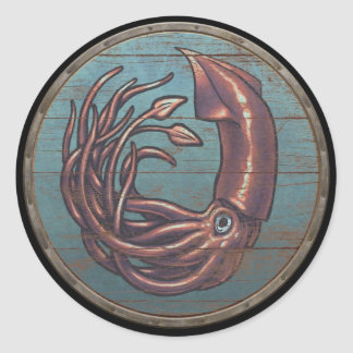 Viking Shield Sticker - Kraken