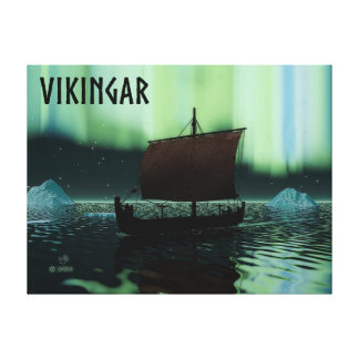 Viking Ship And Northern Lights Stretched Canvas Prints