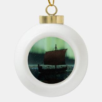 Viking Ship And Northern Lights Ceramic Ball Christmas Ornament