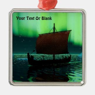 Viking Ship And Northern Lights Christmas Ornament