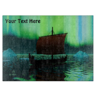 Viking Ship And Northern Lights Cutting Board