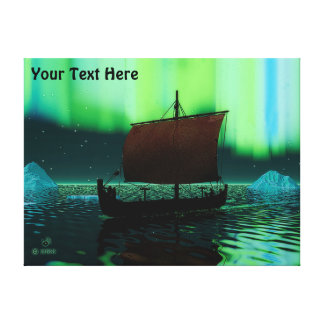 Viking Ship And Northern Lights Gallery Wrap Canvas