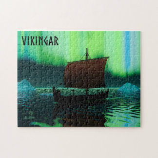 Viking Ship And Northern Lights Jigsaw Puzzle