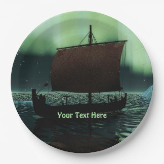 Viking Ship And Northern Lights Paper Plate