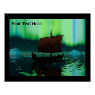 Viking Ship And Northern Lights Poster