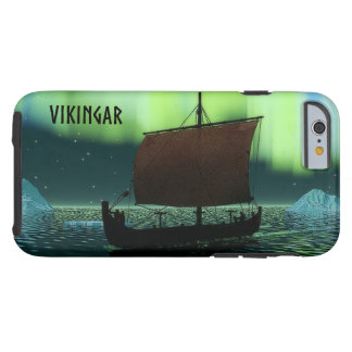 Viking Ship And Northern Lights Tough iPhone 6 Case