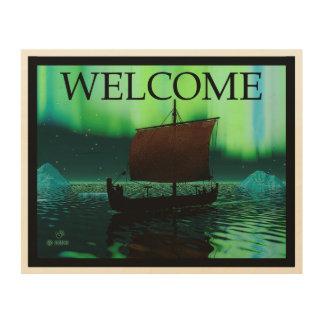 Viking Ship And Northern Lights - Welcome Wood Print