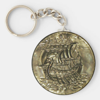 Viking Ship Basic Round Button Key Ring
