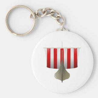 Viking Ship Basic Round Button Key Ring