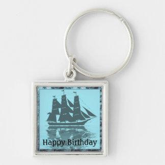 Viking Ship Birthday Silver-Colored Square Key Ring