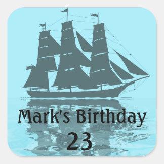 Viking Ship Birthday Square Sticker