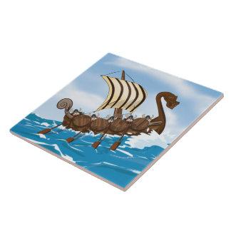 Viking Ship Large Square Tile