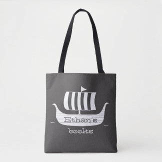 Viking ship longboat w/custom background color tote bag