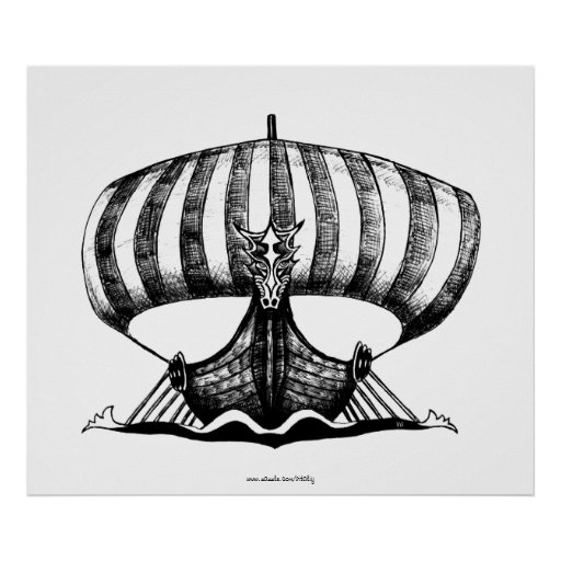 Viking ship pen ink drawing art poster