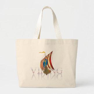 Viking ship reflecting on mysterious water jumbo tote bag