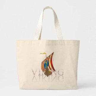Viking ship reflecting on mysterious water large tote bag