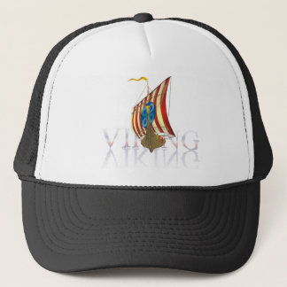 Viking ship reflecting on mysterious water trucker hat