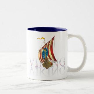 Viking ship reflecting on mysterious water Two-Tone coffee mug