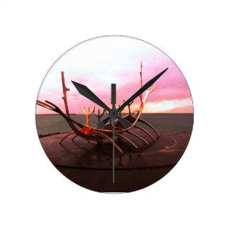 VIKING SHIP STATUE - ICELAND WALL CLOCK