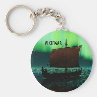 Viking Ship Under Northern Lights Key Ring