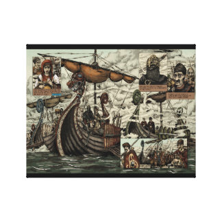 Viking ships gallery wrapped canvas
