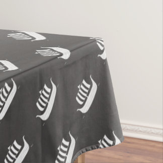Viking ships/longboat w/custom background color tablecloth