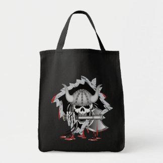 Viking Skull Grocery Tote Bag