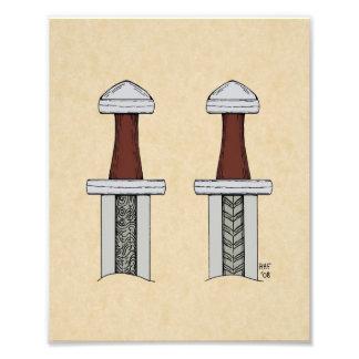 Viking Sword Pattern Welding Print Photo Art
