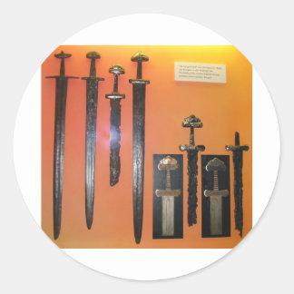 Viking Swords Round Stickers