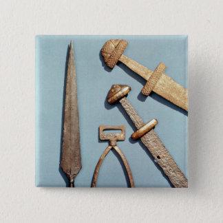 Viking swords, stirrup and spearhead 15 cm square badge