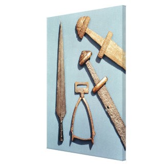 Viking swords, stirrup and spearhead canvas print