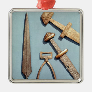 Viking swords stirrup and spearhead christmas ornament