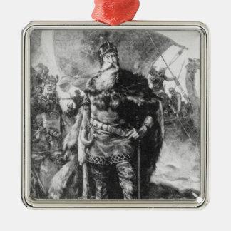 Viking Warrior Silver-Colored Square Decoration