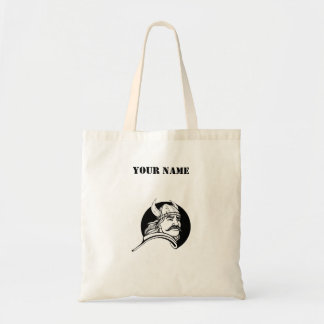 Viking Warrior With Mustache Personalized Budget Tote Bag