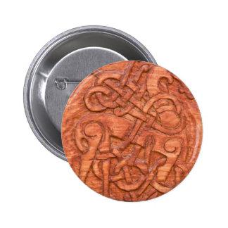 Viking wood carving 6 cm round badge