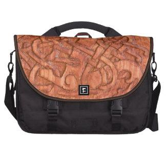 Viking wood carving laptop commuter bag