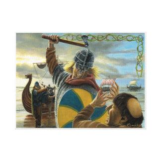 Vikings Attacking Lindisfarne Priory Canvas Print