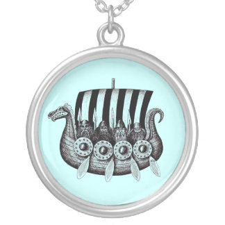 Vikings in Drekar black and white pen ink drawing Round Pendant Necklace