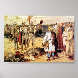 Vikings on the Shore Poster