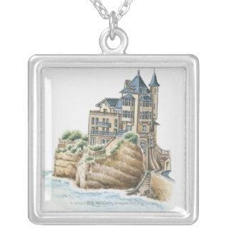 Villa Belza, Biarritz, France Silver Plated Necklace