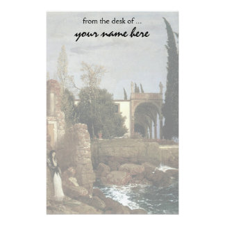 Villa By The Sea by Arnold Bocklin, Symbolism Art Stationery Paper