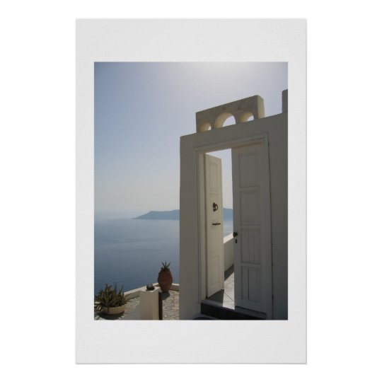 Villa door in Santorini Poster