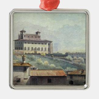 Villa Medici, Rome, c.1776 (oil on paper) Silver-Colored Square Decoration
